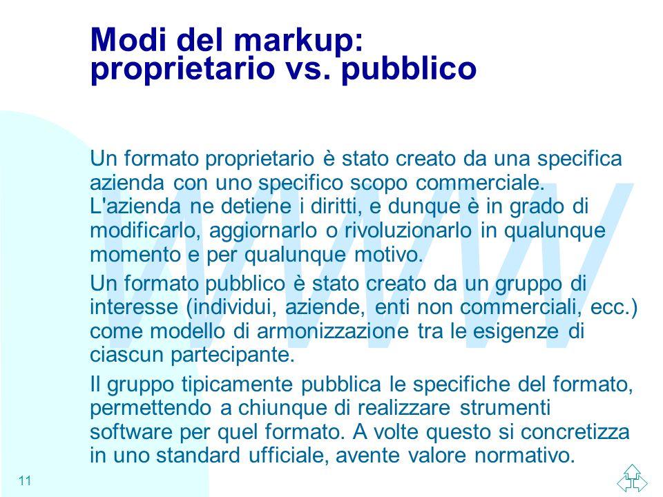 WWW 11 Modi del markup: proprietario vs. pubblico Un formato proprietario è stato creato da una specifica azienda con uno specifico scopo commerciale.