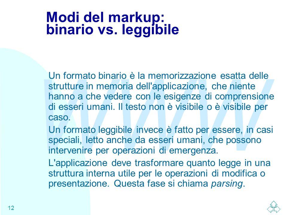 WWW 12 Modi del markup: binario vs. leggibile Un formato binario è la memorizzazione esatta delle strutture in memoria dell'applicazione, che niente h