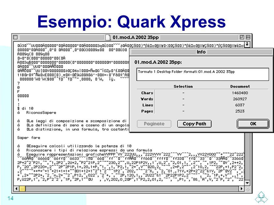 WWW 14 Esempio: Quark Xpress