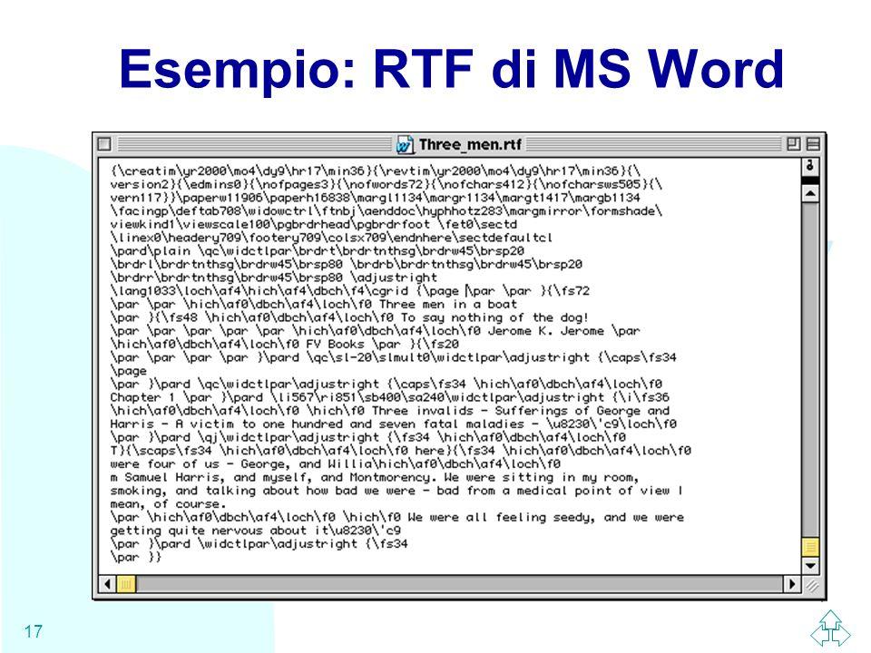 WWW 17 Esempio: RTF di MS Word