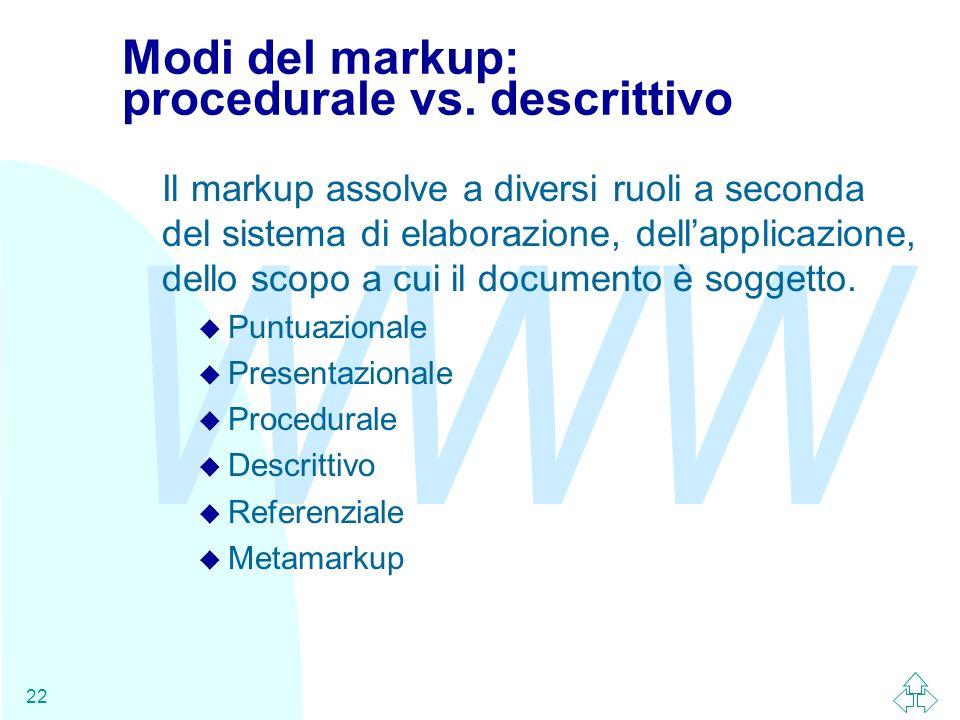 WWW 22 Modi del markup: procedurale vs. descrittivo Il markup assolve a diversi ruoli a seconda del sistema di elaborazione, dellapplicazione, dello s