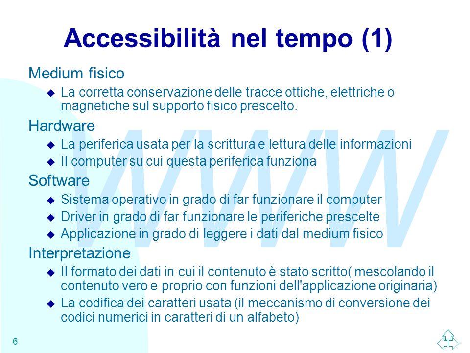 WWW 6 Accessibilità nel tempo (1) Medium fisico u La corretta conservazione delle tracce ottiche, elettriche o magnetiche sul supporto fisico prescelt