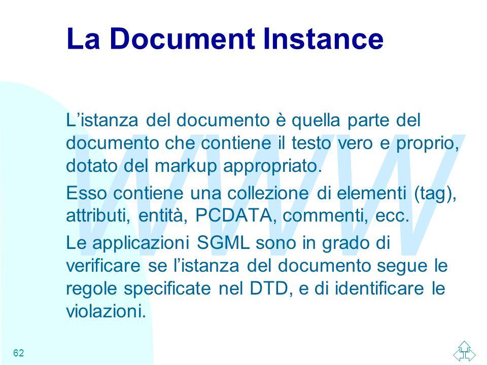 WWW 62 La Document Instance Listanza del documento è quella parte del documento che contiene il testo vero e proprio, dotato del markup appropriato. E
