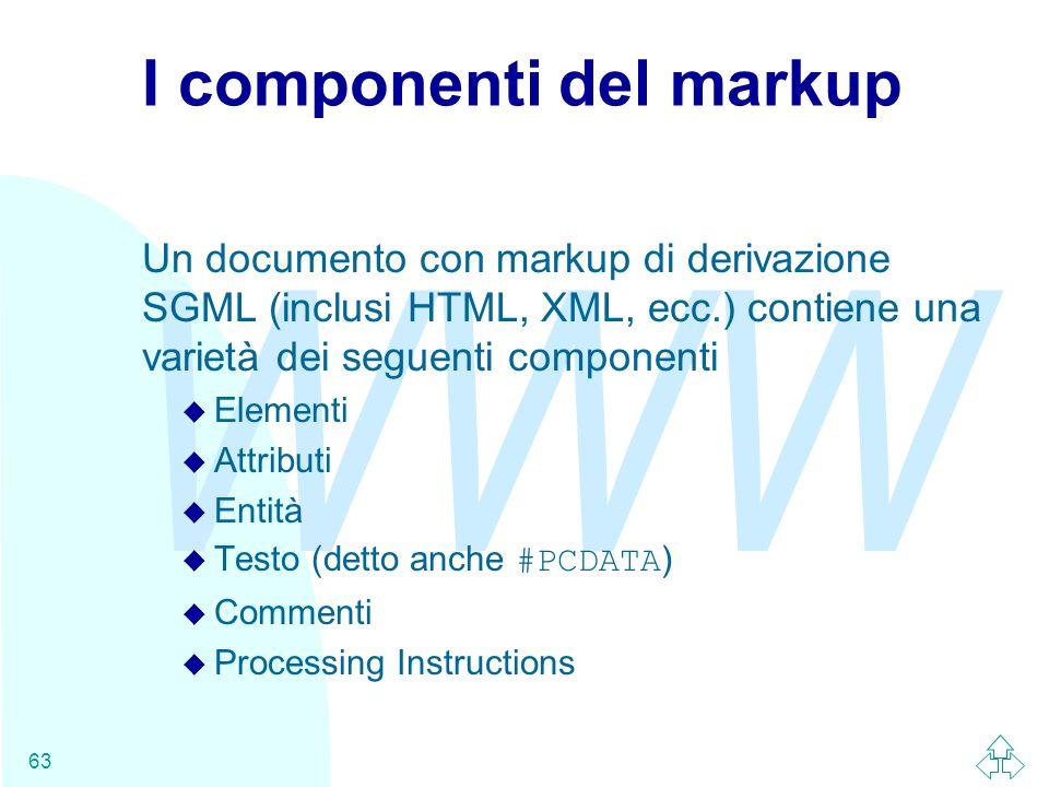 WWW 63 I componenti del markup Un documento con markup di derivazione SGML (inclusi HTML, XML, ecc.) contiene una varietà dei seguenti componenti u El