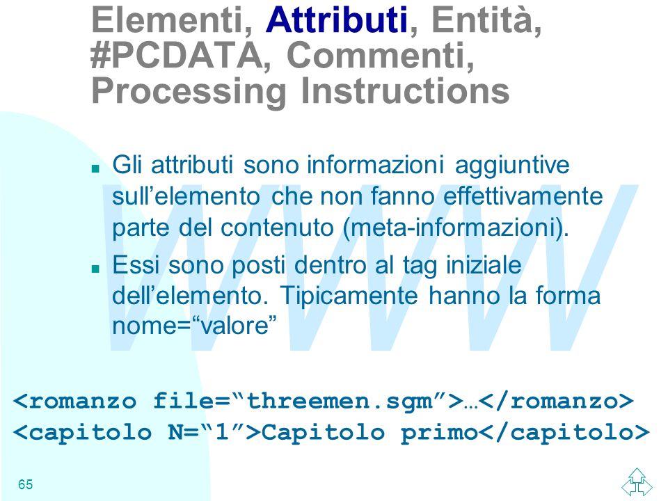 WWW 65 n Gli attributi sono informazioni aggiuntive sullelemento che non fanno effettivamente parte del contenuto (meta-informazioni). n Essi sono pos