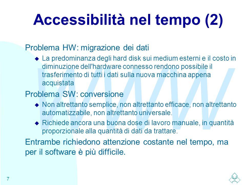 WWW 7 Accessibilità nel tempo (2) Problema HW: migrazione dei dati u La predominanza degli hard disk sui medium esterni e il costo in diminuzione dell