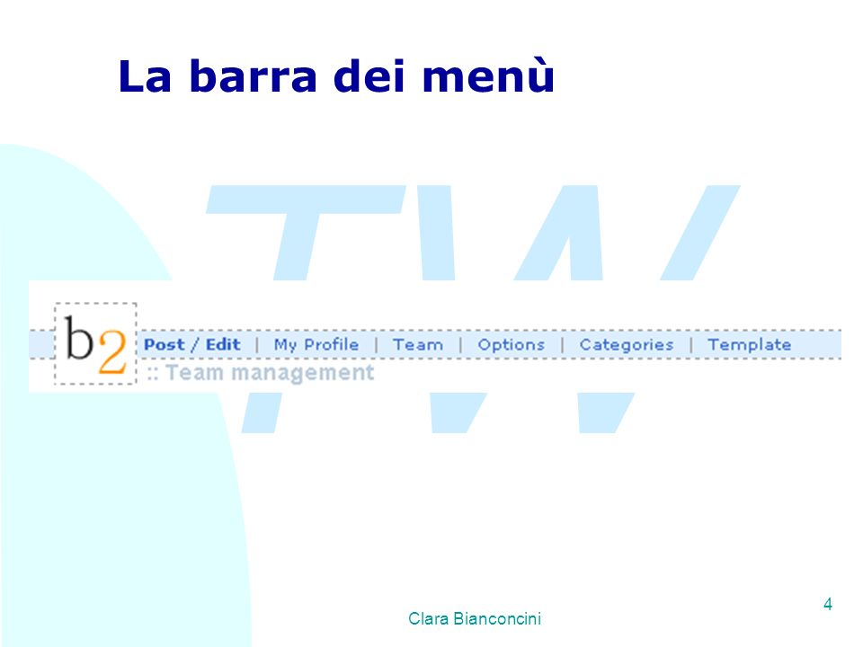 TW Clara Bianconcini 4 La barra dei menù