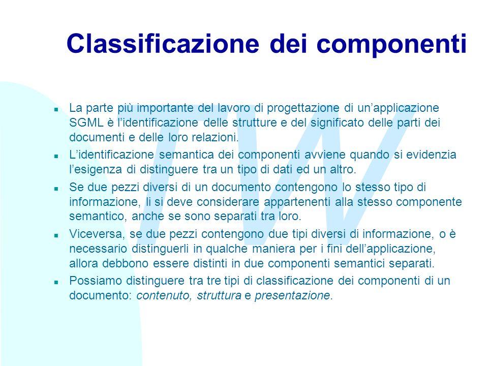 TW Classificazione dei componenti n La parte più importante del lavoro di progettazione di unapplicazione SGML è lidentificazione delle strutture e del significato delle parti dei documenti e delle loro relazioni.