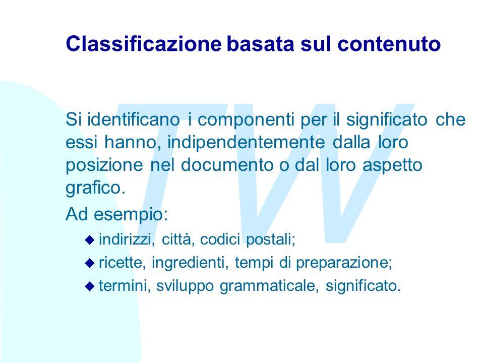 TW Classificazione basata sul contenuto Si identificano i componenti per il significato che essi hanno, indipendentemente dalla loro posizione nel documento o dal loro aspetto grafico.