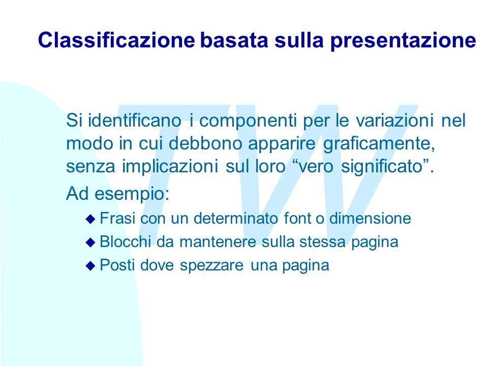 TW Classificazione basata sulla presentazione Si identificano i componenti per le variazioni nel modo in cui debbono apparire graficamente, senza implicazioni sul loro vero significato.