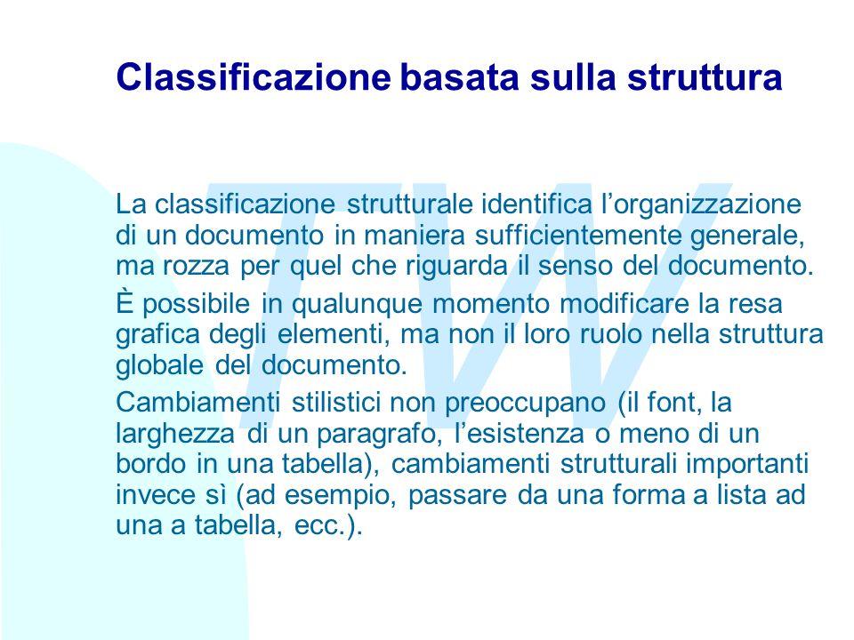 TW Classificazione basata sulla struttura La classificazione strutturale identifica lorganizzazione di un documento in maniera sufficientemente generale, ma rozza per quel che riguarda il senso del documento.