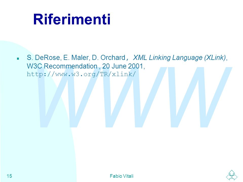 WWW Fabio Vitali15 Riferimenti S. DeRose, E. Maler, D.