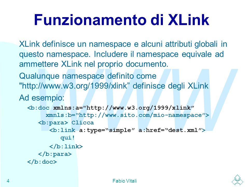 WWW Fabio Vitali5 XLink semplici La presenza dellattributo xml:type con valore simple identifica lelemento come un XLink semplice.