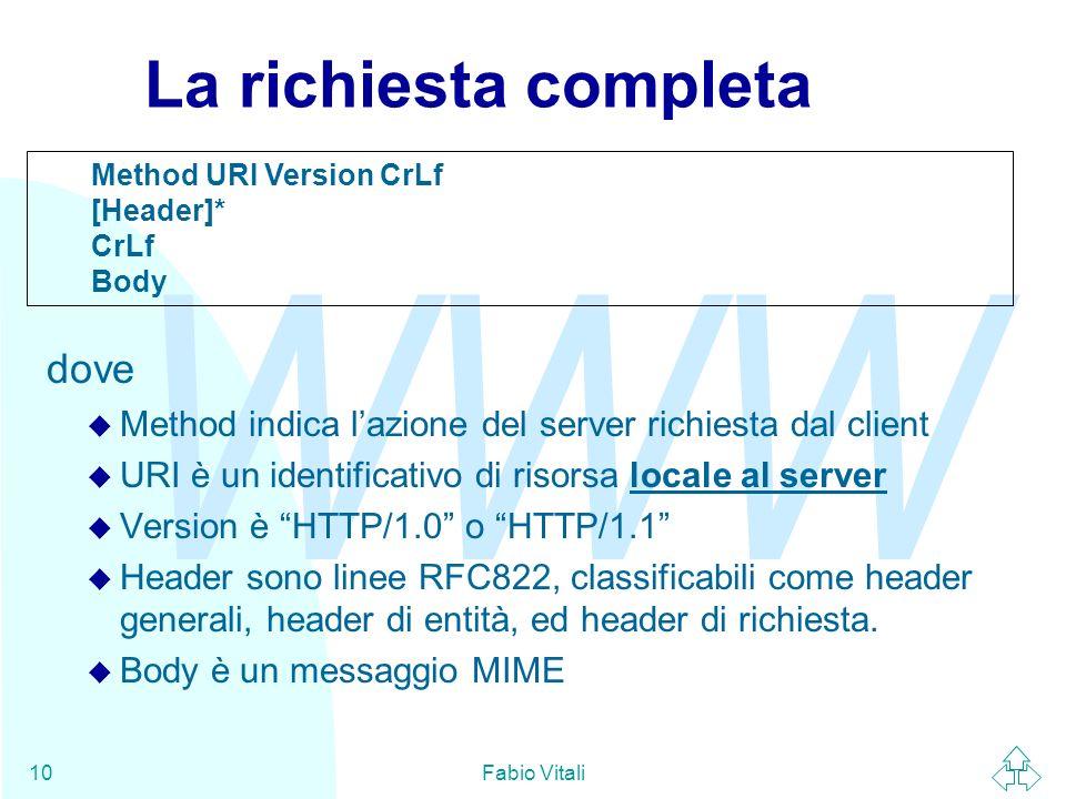 WWW Fabio Vitali10 La richiesta completa dove Method indica lazione del server richiesta dal client URI è un identificativo di risorsa locale al server Version è HTTP/1.0 o HTTP/1.1 Header sono linee RFC822, classificabili come header generali, header di entità, ed header di richiesta.
