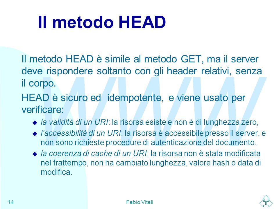 WWW Fabio Vitali14 Il metodo HEAD Il metodo HEAD è simile al metodo GET, ma il server deve rispondere soltanto con gli header relativi, senza il corpo.