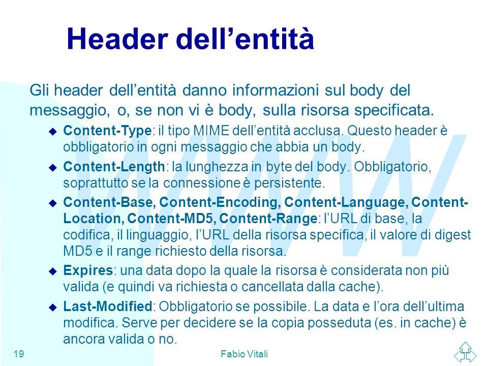 WWW Fabio Vitali19 Header dellentità Gli header dellentità danno informazioni sul body del messaggio, o, se non vi è body, sulla risorsa specificata.