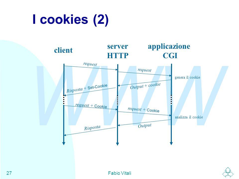 WWW Fabio Vitali27 I cookies (2) client server HTTP applicazione CGI request Output + cookie Risposta + Set-Cookie request + Cookie Output Risposta genera il cookie analizza il cookie