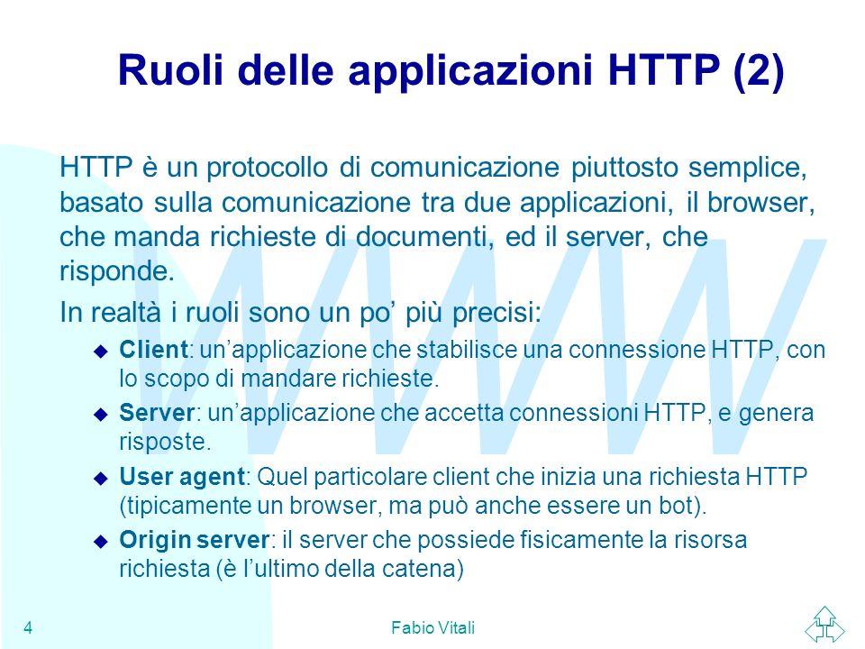 WWW Fabio Vitali15 Il metodo POST Il metodo POST serve per trasmettere delle informazioni dal client al server, ma senza la creazione di una nuova risorsa.