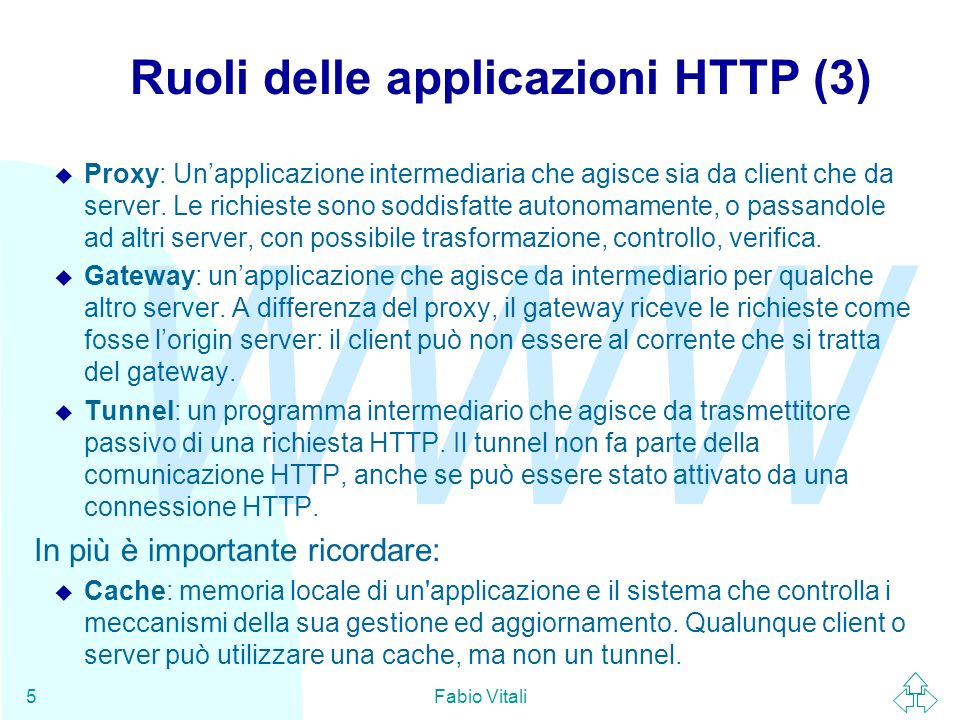 WWW Fabio Vitali5 Ruoli delle applicazioni HTTP (3) u Proxy: Unapplicazione intermediaria che agisce sia da client che da server.