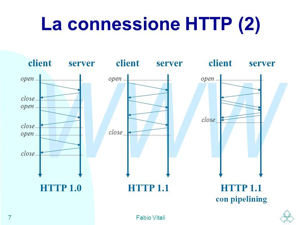 WWW Fabio Vitali8 La richiesta (1) La richiesta è un messaggio MIME formato da una riga di richiesta e da dati ulteriori facoltativi.