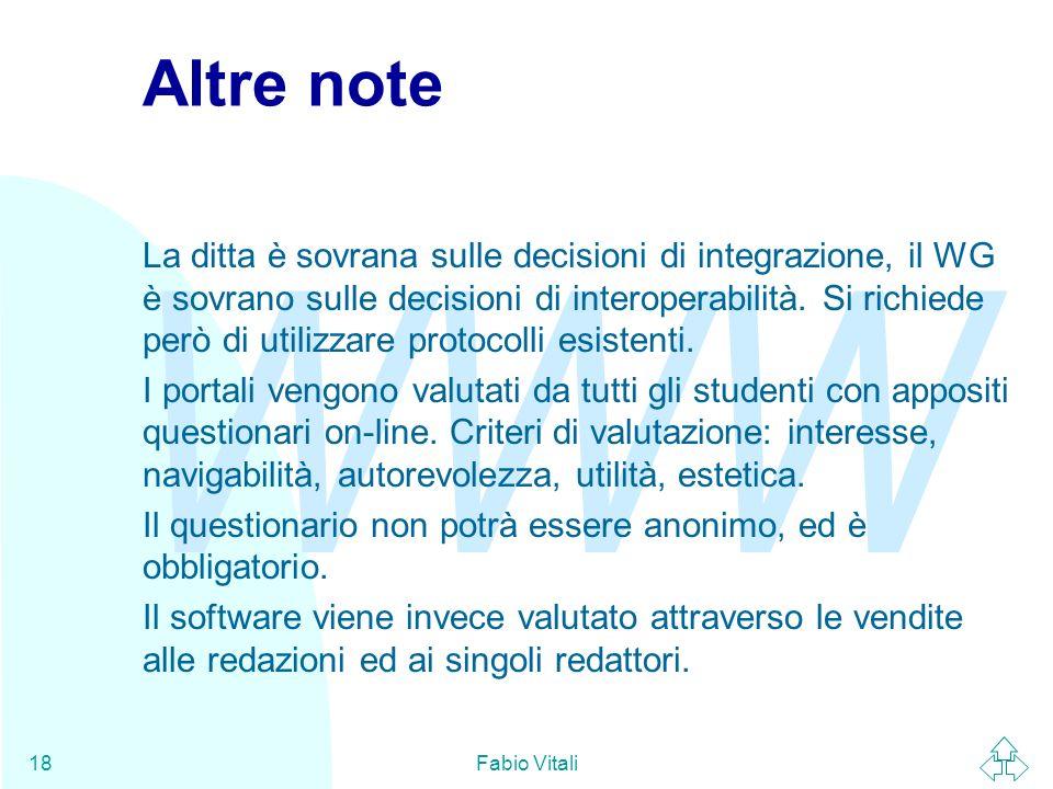 WWW Fabio Vitali18 Altre note La ditta è sovrana sulle decisioni di integrazione, il WG è sovrano sulle decisioni di interoperabilità.