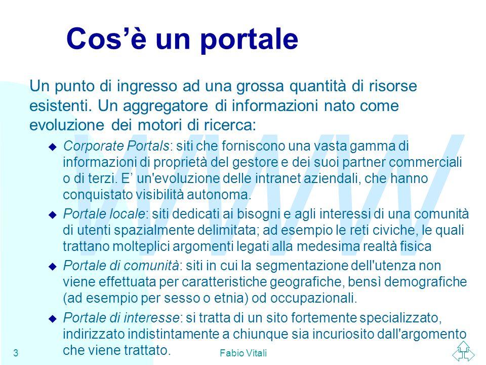 WWW Fabio Vitali3 Cosè un portale Un punto di ingresso ad una grossa quantità di risorse esistenti.