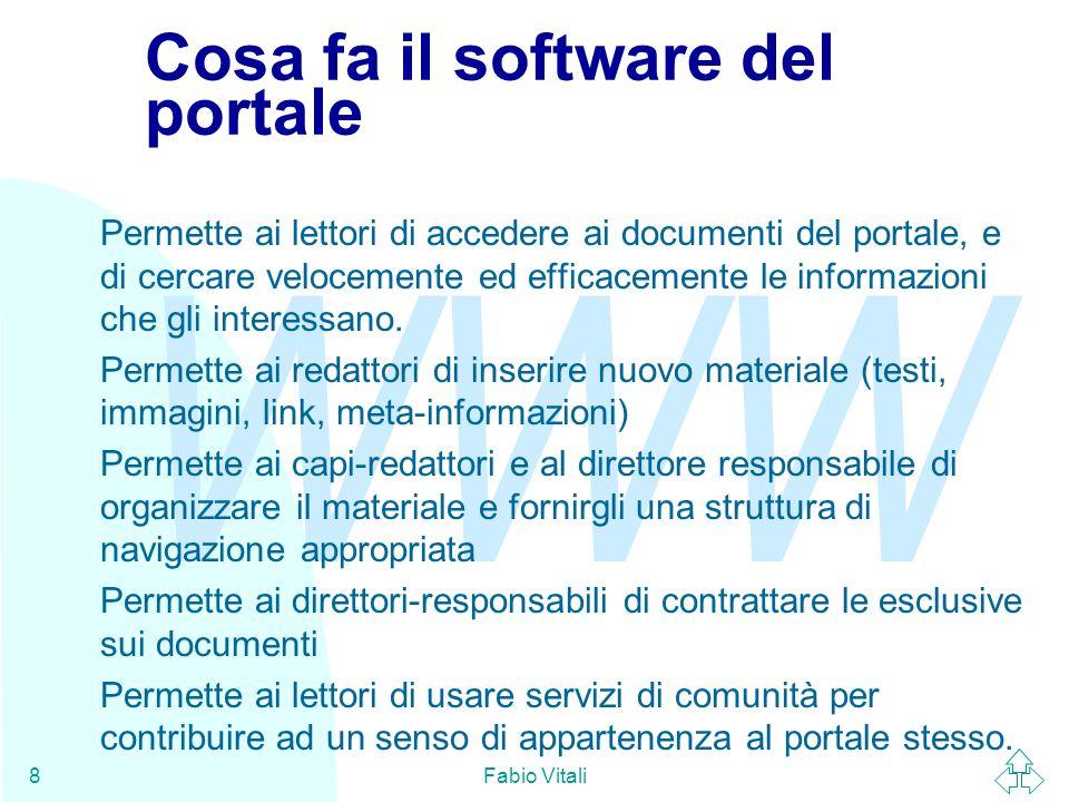 WWW Fabio Vitali9 Una suddivisione in moduli M1: Struttura del server M2: creazione nuovi documenti M3: Layout manager M4: Informazioni accessorie M5 (facoltativo): Contrattazioni M6 (facoltativo): servizi di comunità