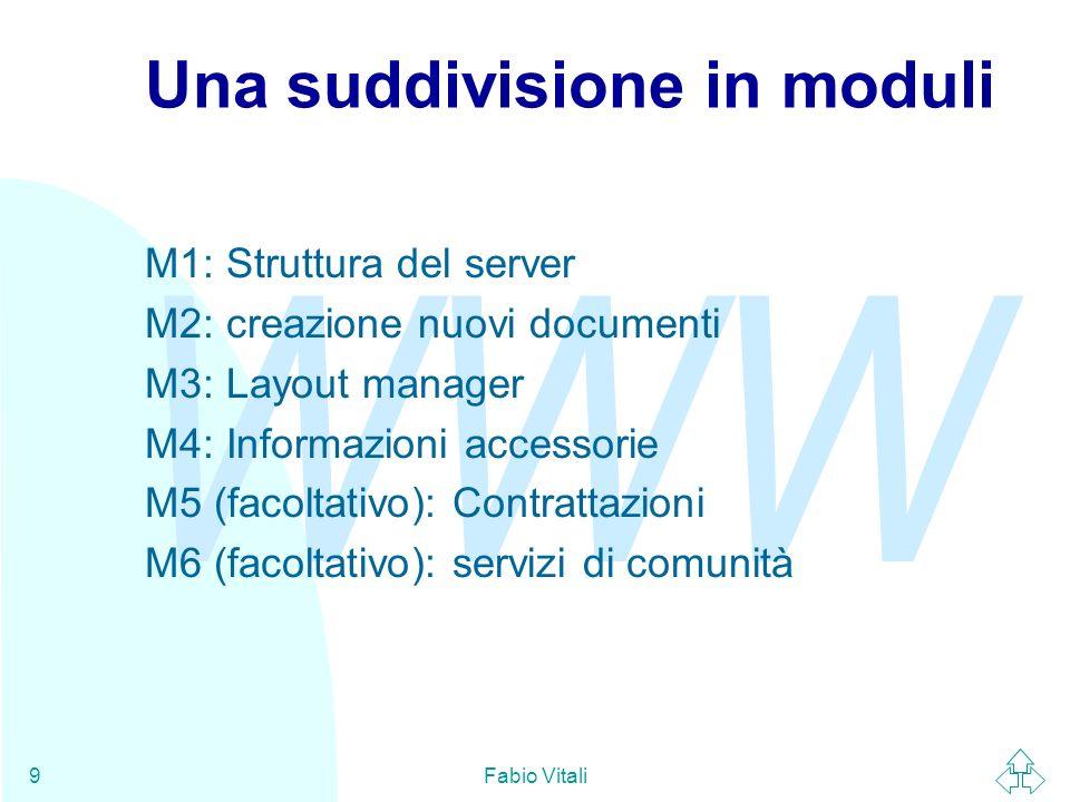 WWW Fabio Vitali10 M1: Struttura del server n Genera il documento richiesto dallutente nella forma più adatta al browser richiedente u I.E.