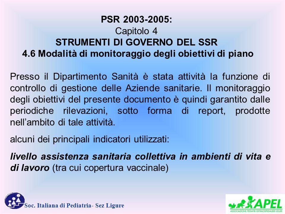 Soc. Italiana di Pediatria- Sez Ligure Presso il Dipartimento Sanità è stata attività la funzione di controllo di gestione delle Aziende sanitarie. Il