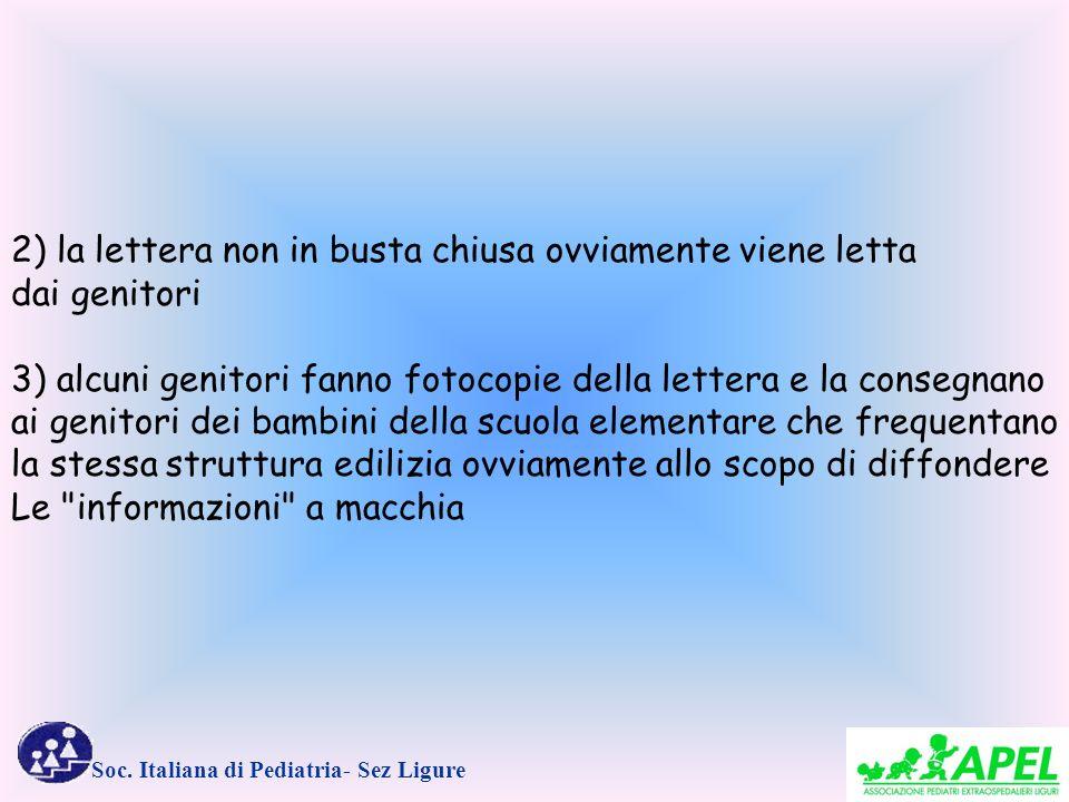 Soc. Italiana di Pediatria- Sez Ligure 2) la lettera non in busta chiusa ovviamente viene letta dai genitori 3) alcuni genitori fanno fotocopie della