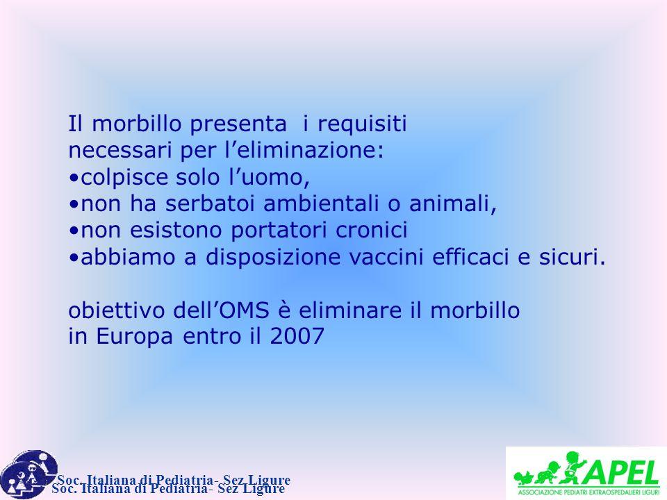 Soc. Italiana di Pediatria- Sez Ligure Attivare interventi di profilassi vaccinale.