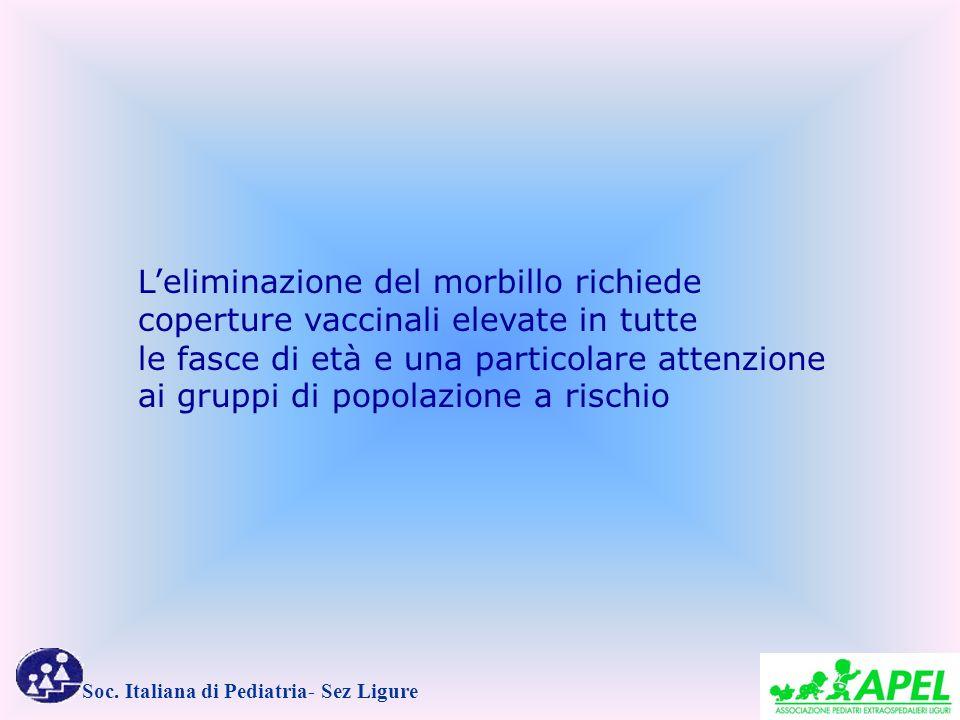 Soc. Italiana di Pediatria- Sez Ligure Leliminazione del morbillo richiede coperture vaccinali elevate in tutte le fasce di età e una particolare atte