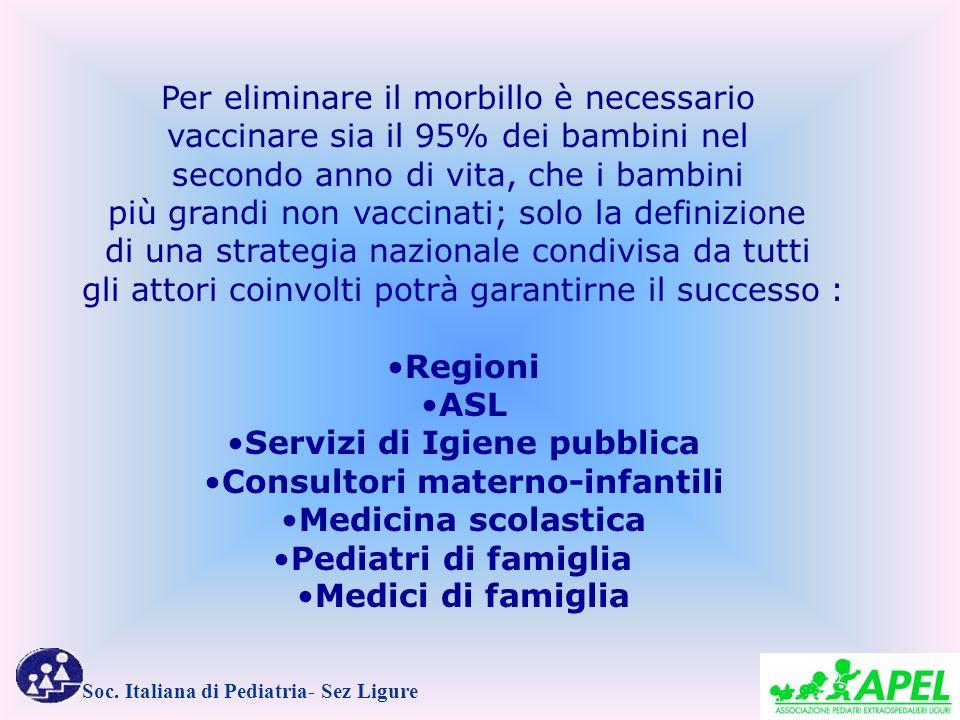 Soc. Italiana di Pediatria- Sez Ligure Per eliminare il morbillo è necessario vaccinare sia il 95% dei bambini nel secondo anno di vita, che i bambini