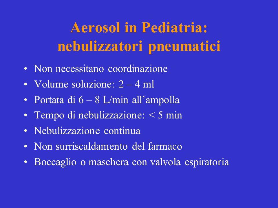 Aerosol in Pediatria: nebulizzatori pneumatici Non necessitano coordinazione Volume soluzione: 2 – 4 ml Portata di 6 – 8 L/min allampolla Tempo di neb