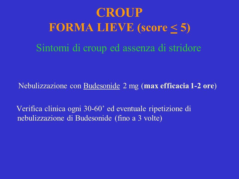 CROUP FORMA LIEVE (score < 5) Sintomi di croup ed assenza di stridore Nebulizzazione con Budesonide 2 mg (max efficacia 1-2 ore) Verifica clinica ogni