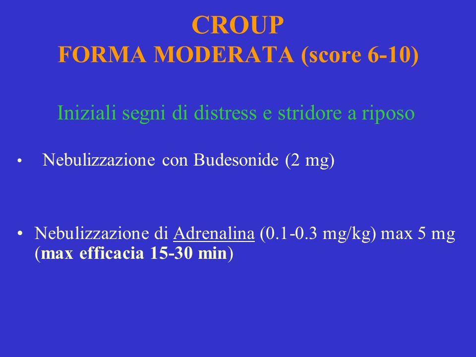CROUP FORMA MODERATA (score 6-10) Iniziali segni di distress e stridore a riposo Nebulizzazione con Budesonide (2 mg) Nebulizzazione di Adrenalina (0.