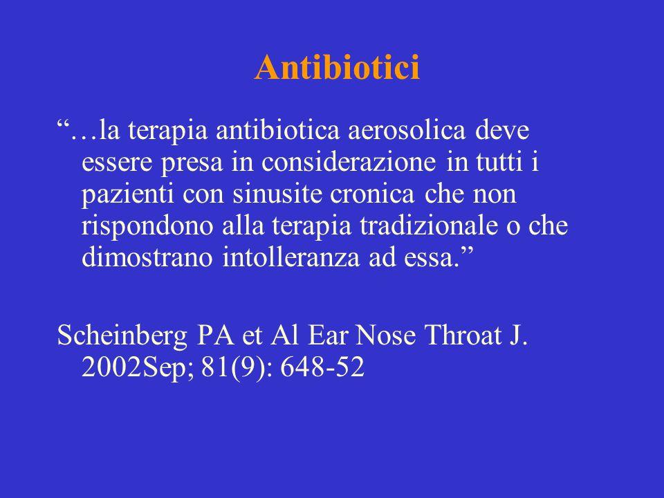 Antibiotici …la terapia antibiotica aerosolica deve essere presa in considerazione in tutti i pazienti con sinusite cronica che non rispondono alla te