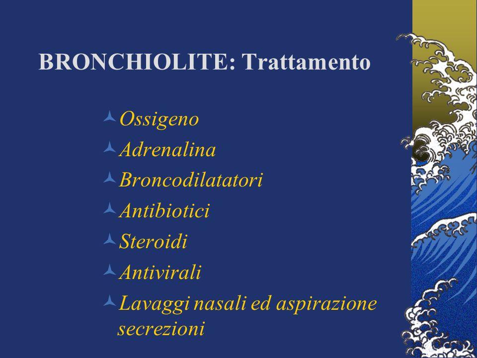 BRONCHIOLITE: Trattamento Ossigeno Adrenalina Broncodilatatori Antibiotici Steroidi Antivirali Lavaggi nasali ed aspirazione secrezioni