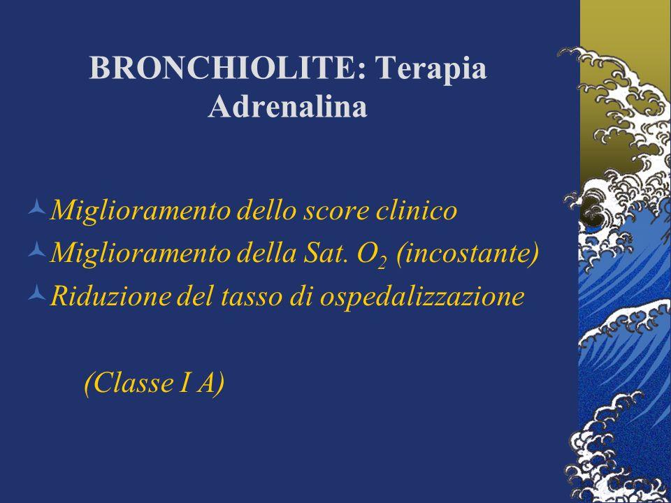 BRONCHIOLITE: Terapia Adrenalina Miglioramento dello score clinico Miglioramento della Sat.