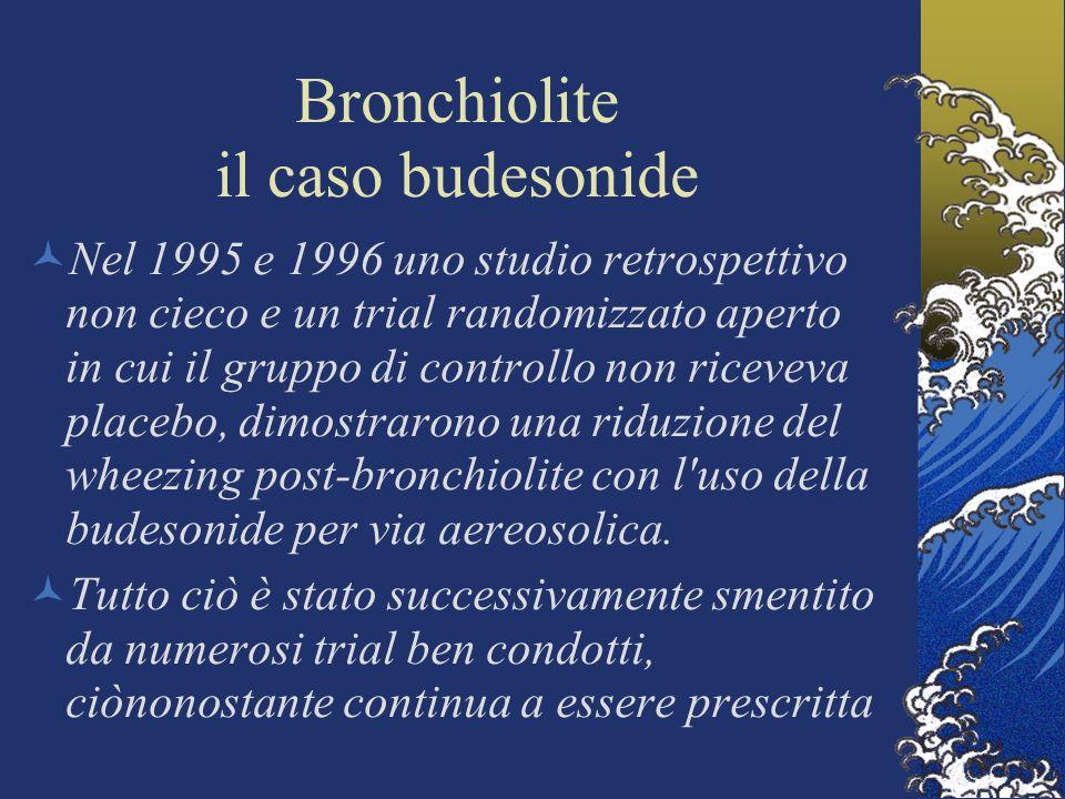 Bronchiolite il caso budesonide Nel 1995 e 1996 uno studio retrospettivo non cieco e un trial randomizzato aperto in cui il gruppo di controllo non riceveva placebo, dimostrarono una riduzione del wheezing post-bronchiolite con l uso della budesonide per via aereosolica.