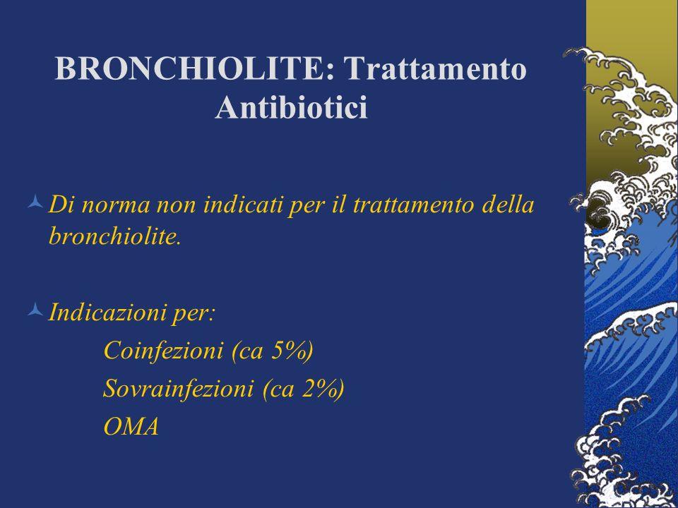 BRONCHIOLITE: Trattamento Antibiotici Di norma non indicati per il trattamento della bronchiolite.