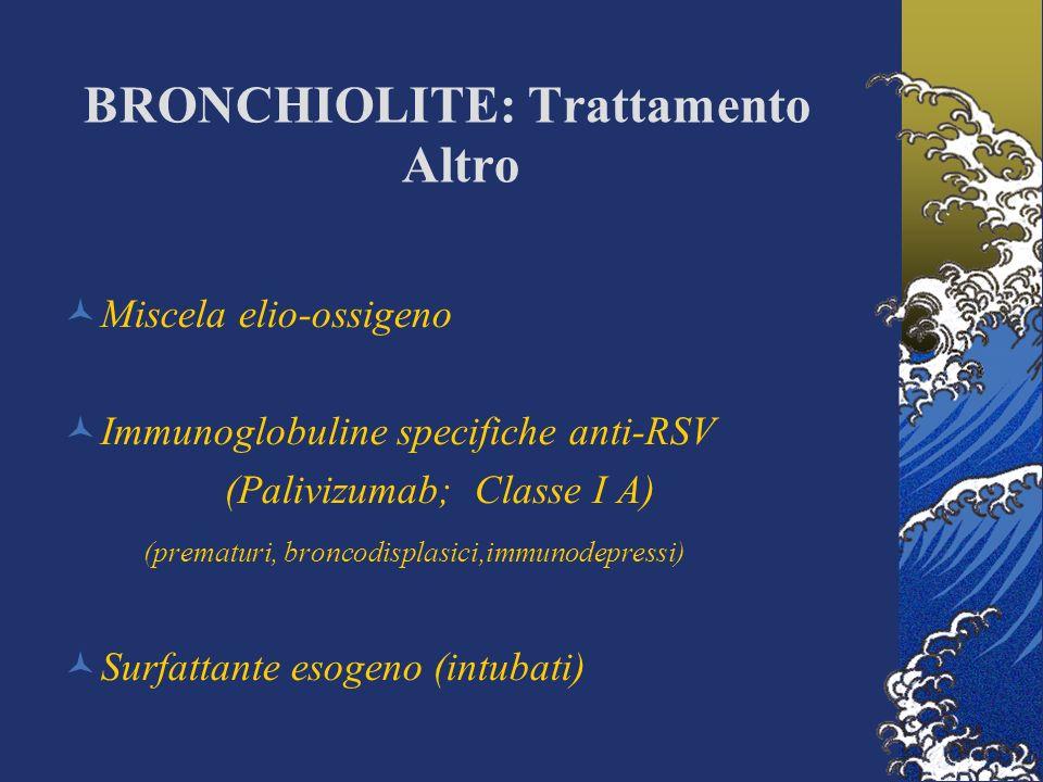 BRONCHIOLITE: Trattamento Altro Miscela elio-ossigeno Immunoglobuline specifiche anti-RSV (Palivizumab; Classe I A) (prematuri, broncodisplasici,immun