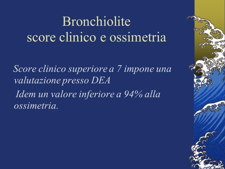 Bronchiolite score clinico e ossimetria Score clinico superiore a 7 impone una valutazione presso DEA Idem un valore inferiore a 94% alla ossimetria.