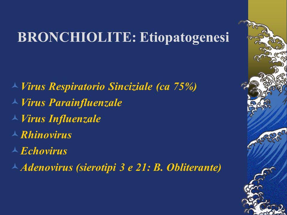 BRONCHIOLITE: Etiopatogenesi Virus Respiratorio Sinciziale (ca 75%) Virus Parainfluenzale Virus Influenzale Rhinovirus Echovirus Adenovirus (sierotipi