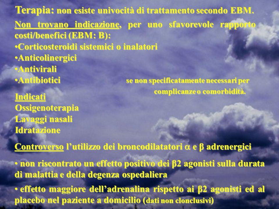 Terapia: non esiste univocità di trattamento secondo EBM. Non trovano indicazione, per uno sfavorevole rapporto costi/benefici (EBM: B): Corticosteroi