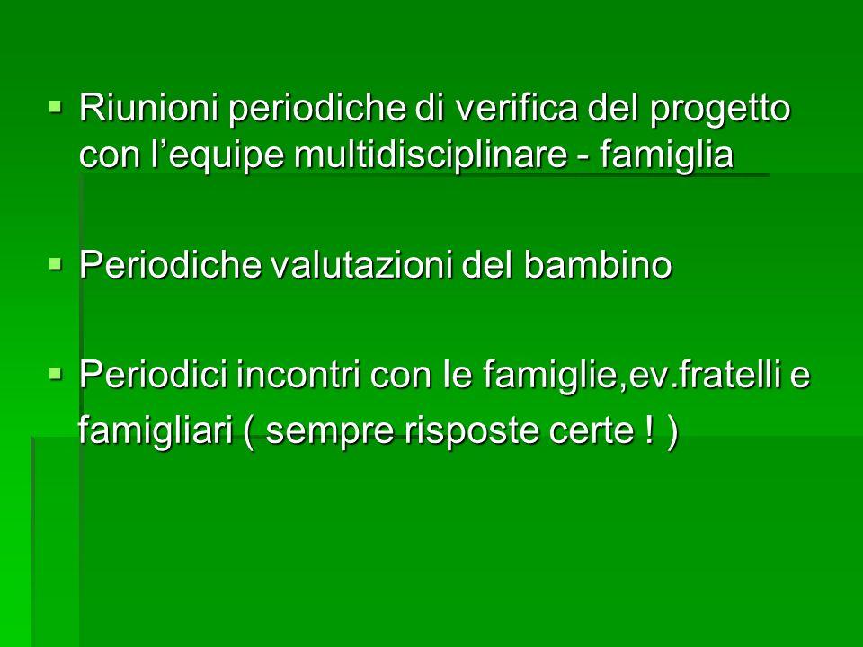 Riunioni periodiche di verifica del progetto con lequipe multidisciplinare - famiglia Riunioni periodiche di verifica del progetto con lequipe multidi