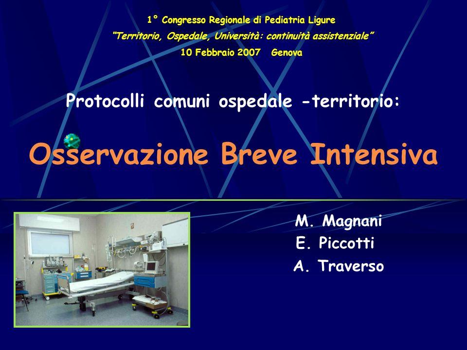 Protocolli comuni ospedale -territorio: Osservazione Breve Intensiva M.