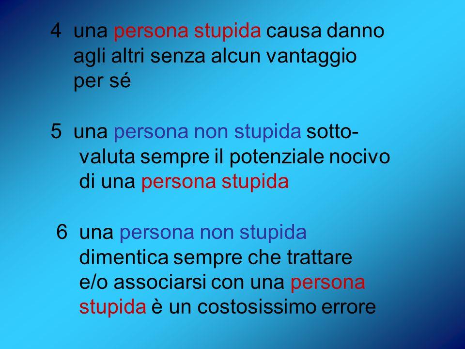 4 una persona stupida causa danno agli altri senza alcun vantaggio per sé 5 una persona non stupida sotto- valuta sempre il potenziale nocivo di una p