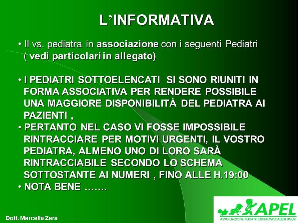 L INFORMATIVA Il vs. pediatra in associazione con i seguenti Pediatri Il vs.