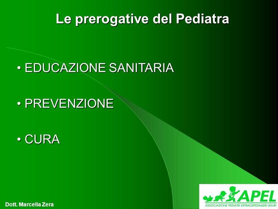 Le prerogative del Pediatra EDUCAZIONE SANITARIA EDUCAZIONE SANITARIA PREVENZIONE PREVENZIONE CURA CURA Dott.